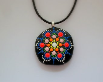 Mandala pendant necklace Mothers Day gift under 50 statement jewelry beach stone fashion SHIPS FREE painted rock spring yoga art neon glow