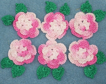 6 handmade pink cotton thread crochet applique roses with leaves -- 158