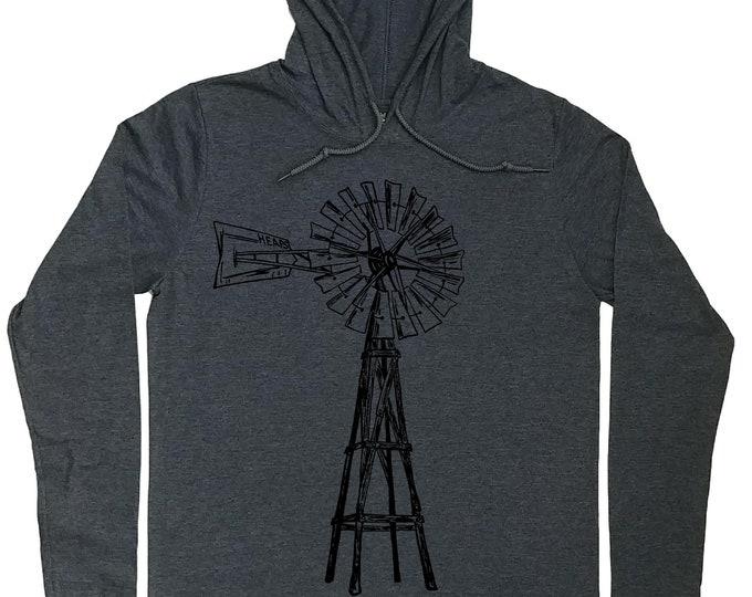 Mens Hoodies - Windmill Hoodie - Farmer T Shirt - Graphic Hoodie - Hoodie T Shirt Men - Hoodie for Boyfriend - Light Weight Hoodie