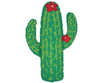 "Cactus balloon. 41"".  Large cacti party balloon.  Desert party foil jumbo balloon.  Fiesta balloon.  Cactus party decor.  Cactus balloons."