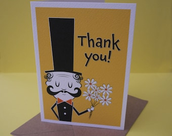 Thankyou Card - Man in Top Hat with Flowers - A6