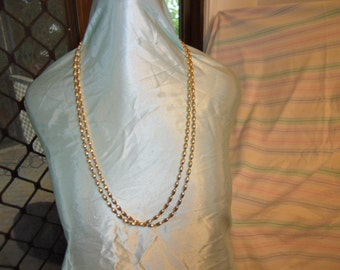Authentic Vintage SIGNED NAPIER Gold Extra Long Metal Necklace