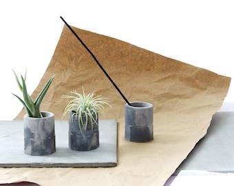 Marble Concrete Mini Tillandsia Planter, Air Plant holder Gift Set, modern cement decor, organizer cups, candle or insence stick holder