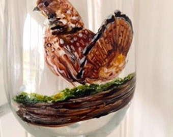 Ruffed Grouse Wine Glasses or Rocks Glass, Perfect Gift for Grouse Hunters.