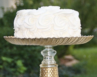 Gold Cake-Cupcake Stand Shabby Chic Vintage Reclaimed Serving Platter