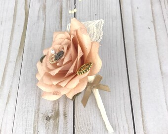 Steampunk rose gold paper flower Men's lapel pin, Steampunk boutonniere