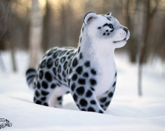 Toy felted Snow Leopard