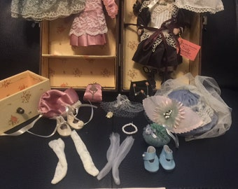 Trudy Traveler Porcelain Doll with Outfits and Trunk