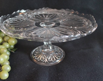 """Circa 1905 EAPG Antique John Higbee Clear Glass 9.5"""" Cake Stand - Admiral Ribbed Ellipse Pattern"""