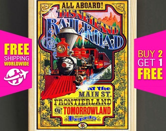 Disney Poster, Disneyland Vintage, The Disneyland Railroad, Disneyland Print, Frontierland, Disney Art, Tomorrowland, Wall Art Decor -383