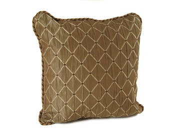Square Cocoa Brown Diamond Pillow with Brown Velvet Fabric on Back