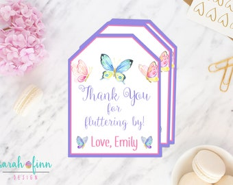 Butterfly Favor Tags, Butterfly Birthday, Butterfly Party, Favour Tags, Printable, Butterfly Baby Shower, Party Thank You Tag, 1st Birthday