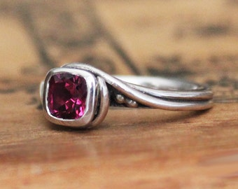 Rhodolite garnet ring silver, garnet engagement ring, pink garnet, rhodolite ring, cushion cut ring, pirouette, ready to ship size 6.5
