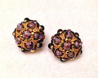 SALE- Vintage Jose Maria Barrera Millefiori Murano Art Glass Clip On Earrings- Unique!