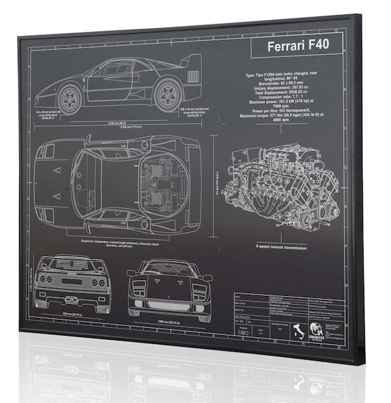 Ferrari f40 laser engraved wall art poster engraved on metal malvernweather Gallery