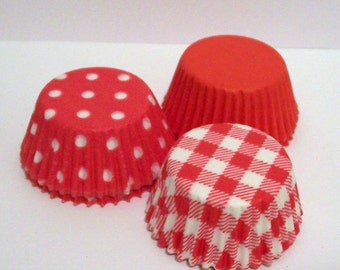 75 MINI Red Assortment Baking Cups- Candy Liners