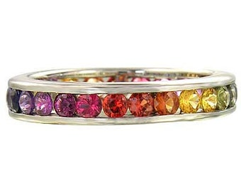 4ct Multicolor Rainbow Sapphire Eternity Ring 925 Sterling Silver : sku R2045-925