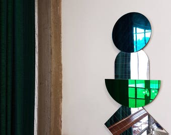 Modern Mid Century Style Mirrors in Teal, Green and Silver