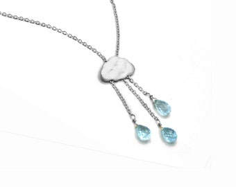 Lightning Storm Necklace. English Rain Cloud necklace. Lightning bolt Gemstone Jewelry.