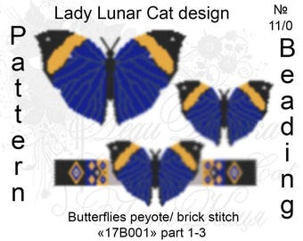Butterfly patterns, Kallima paralekta patterns, Peyote pattern, Spring patterns, Colorful pattern, Summer patterns, Peyote stitch, Beading