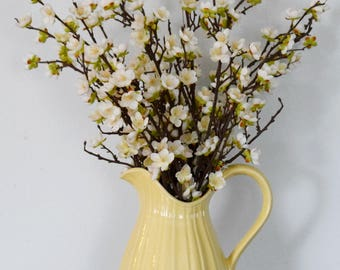 Pear Blossoms in Yellow Ceramic Pitcher Arrangement