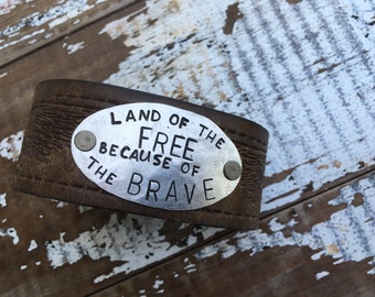 Men's Stamped Leather Cuff-Freedom-Word Cuff-Personal Gift