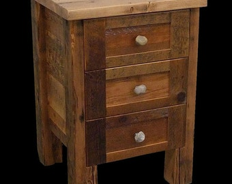 Reclaimed Wood 3 dr. Rustic Night Stand