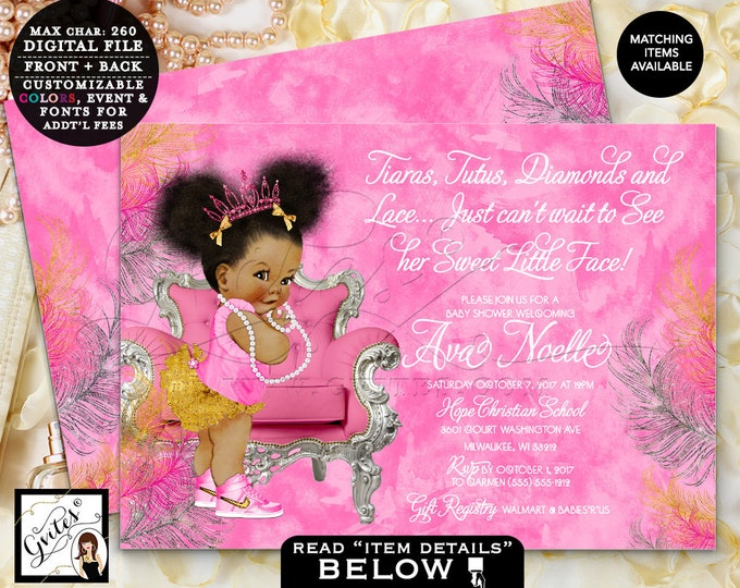 Gvites pink gold silver baby shower invitation fuchsia invites tiaras tutus diamonds pearls vintage filmwisefo