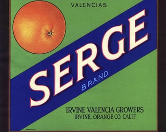 Original vintage citrus crate label 1940s Serge California Orange County Fashion Fabric