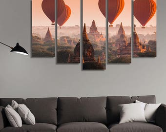 LARGE XL Four Air Balloons Over Buddhist Temples at Sunrise Canvas Print Bagan Myanmar Canvas Wall Art Print Home Decoration - Stretched