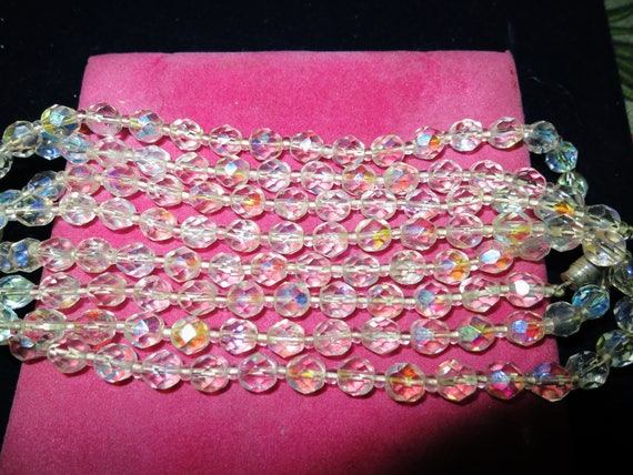 Lovely 1950s aurora borealis crystal flapper long line necklace 50 inches