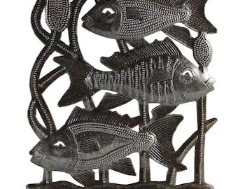 three fish, Haitian metal art, recycled metal art, oil drum, recycled oil drum, metal decor, recycled decor, outdoor art, steel drum art