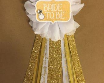 Bride To Be Pin Flower Ribbon Pin Gold White glam Corsage Glitter Rhinestone Bride ring bling wedding bridal shower pin