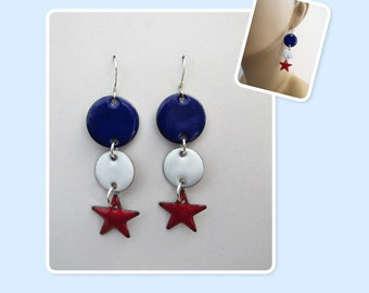 Red, White and Blue Patriotic Circles and Stars Enamel Sterling Silver Long Geometric Earrings