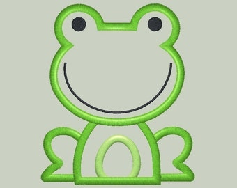 Cute Frog Machine Embroidery Applique Design THREE sizes