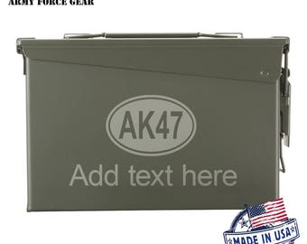AK-47 Assault Rifle Custom Engraved 30/50 Cal Ammo Can Personalized Dad Gift Cool Guy Gifts Father's Day Gift Grandpa Gift Groomsmen Hunter