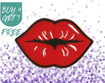 Kiss Patches Lip Patches Iron On Patch Embroidered Patch Smooch Hot Lips
