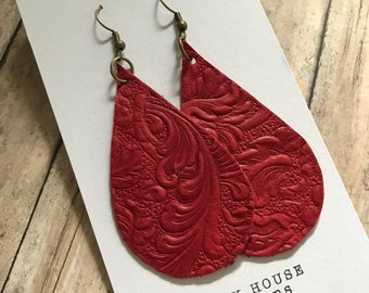 Leather Teardrop Earrings, Deep Red