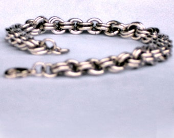 Double Cable Chainmaille Bracelet, chainmaille jewelry, sca bracelet, sca jewelry, renfaire jewelry, renaissance jewelry