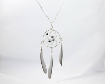 Pendant dream catcher feathers and black beads.