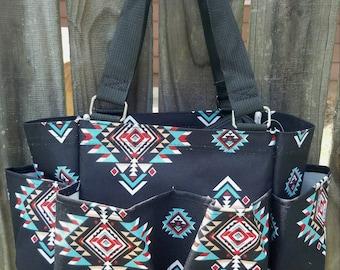 Black Tribal Grooming Tote/Caddy Bag - Personalized/Monogrammed