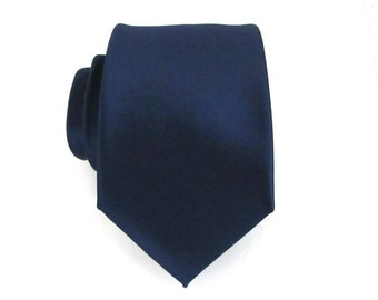 Dark Navy Blue Silk Necktie With *FREE* Matching Pocket Square Set