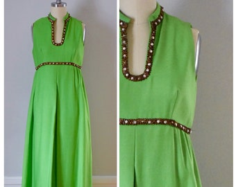 Vintage Dress / 60s Dress / Vintage 60s Dress / Maxi Dress / Hostess Dress / Empire Waist Dress / Party Dress / Mad Men / Mod / Extra Small