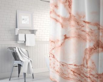 Rose Gold Marble Shower Curtain, Girls Bathroom Decor, Pink Shower Curtain, Girls Shower Curtain, Teen Room Decor, Gift for Her