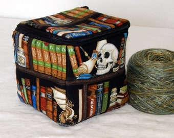 """Zippered project yarn box, 5"""" x 5"""" sock box bag, knitting, crochet, embroidery, Harry Potter, The Restricted Section"""