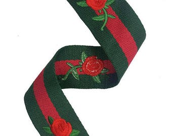 Striped Red Green Petersham Trim Ribbon with Embroidered Flowers
