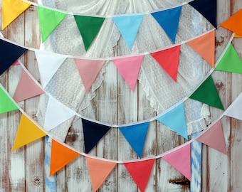 Wedding bunting, Long wedding bunting, Rainbow colours bunting, Fabric bunting, Banner, Pastel colours bunting, Rainbow theme, Rainbow party