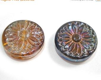 Spring Fling Sale Handmade Lampwork Glass Beads,  Lustre Flower Tabular Focals