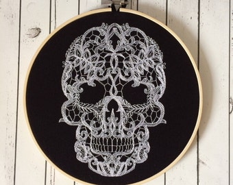 Gothic Skull Embroidered Wall Art, Halloween Decor