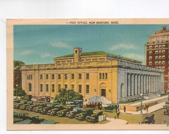 "Massachusetts, Vintage Postcard,"" Post Office, New Bedford,Mass."" 1930s, #167-2"